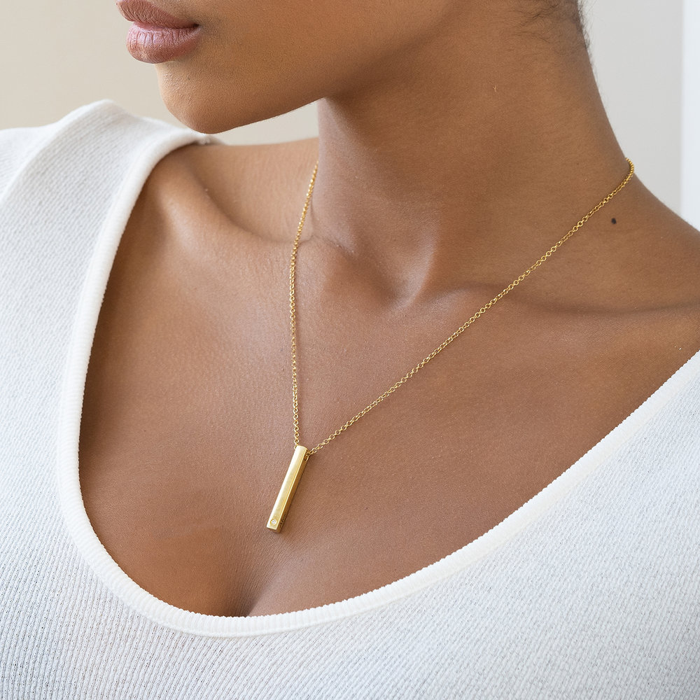 Pillar Bar Necklace - 18k Gold Vermeil with Diamond - 4