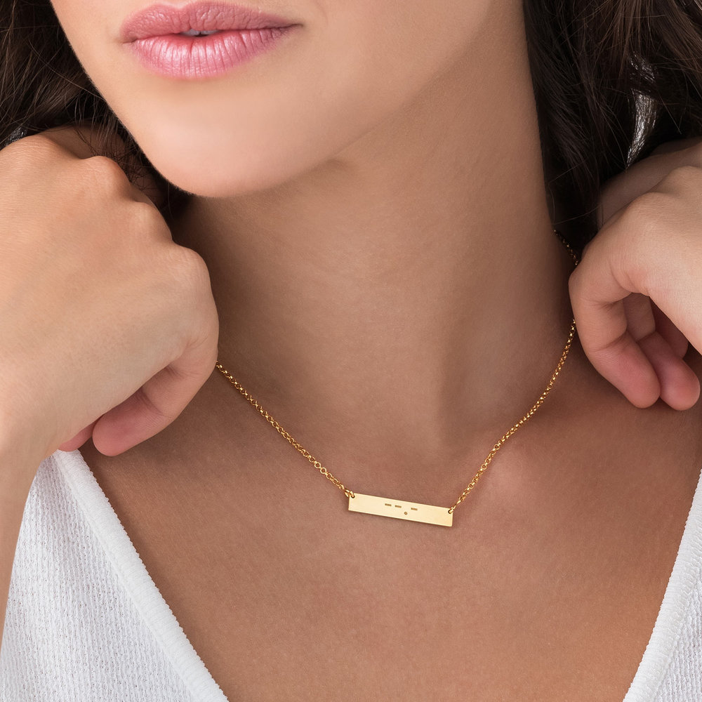 Crack the Code - Morse Code Necklace - Gold Plated - 2