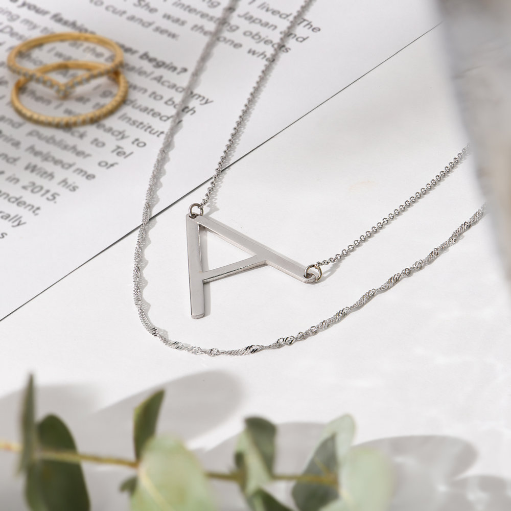 Initial Necklace - Silver - 2