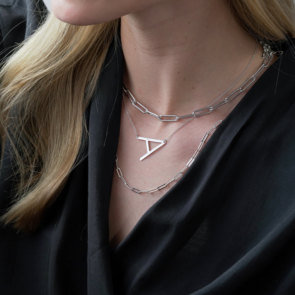 Initial Necklace - Silver - 4