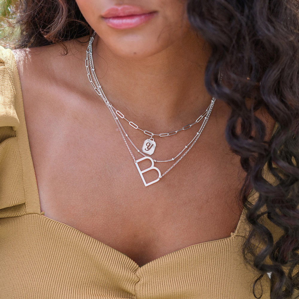 Initial Necklace - Silver - 5
