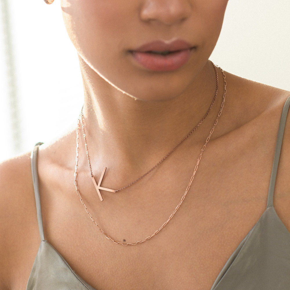 Initial Necklace - Rose Gold Plated - 2