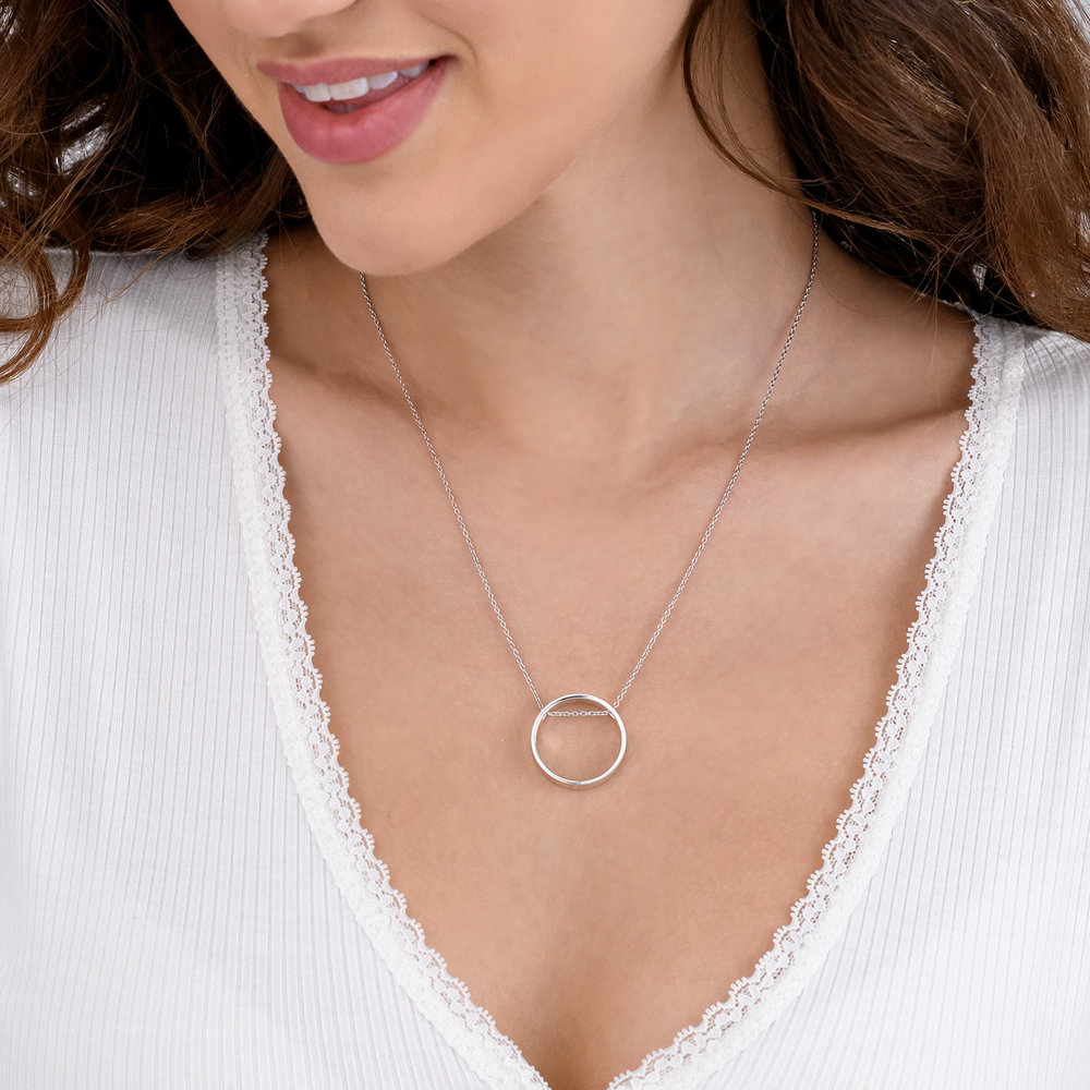 Caroline Circle Necklace - Silver - 3