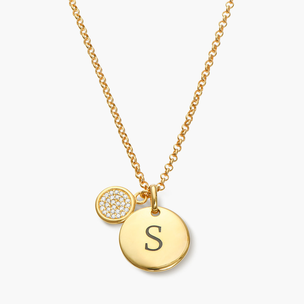 Luna Dazzle Disc Initial Necklace - Gold Plated