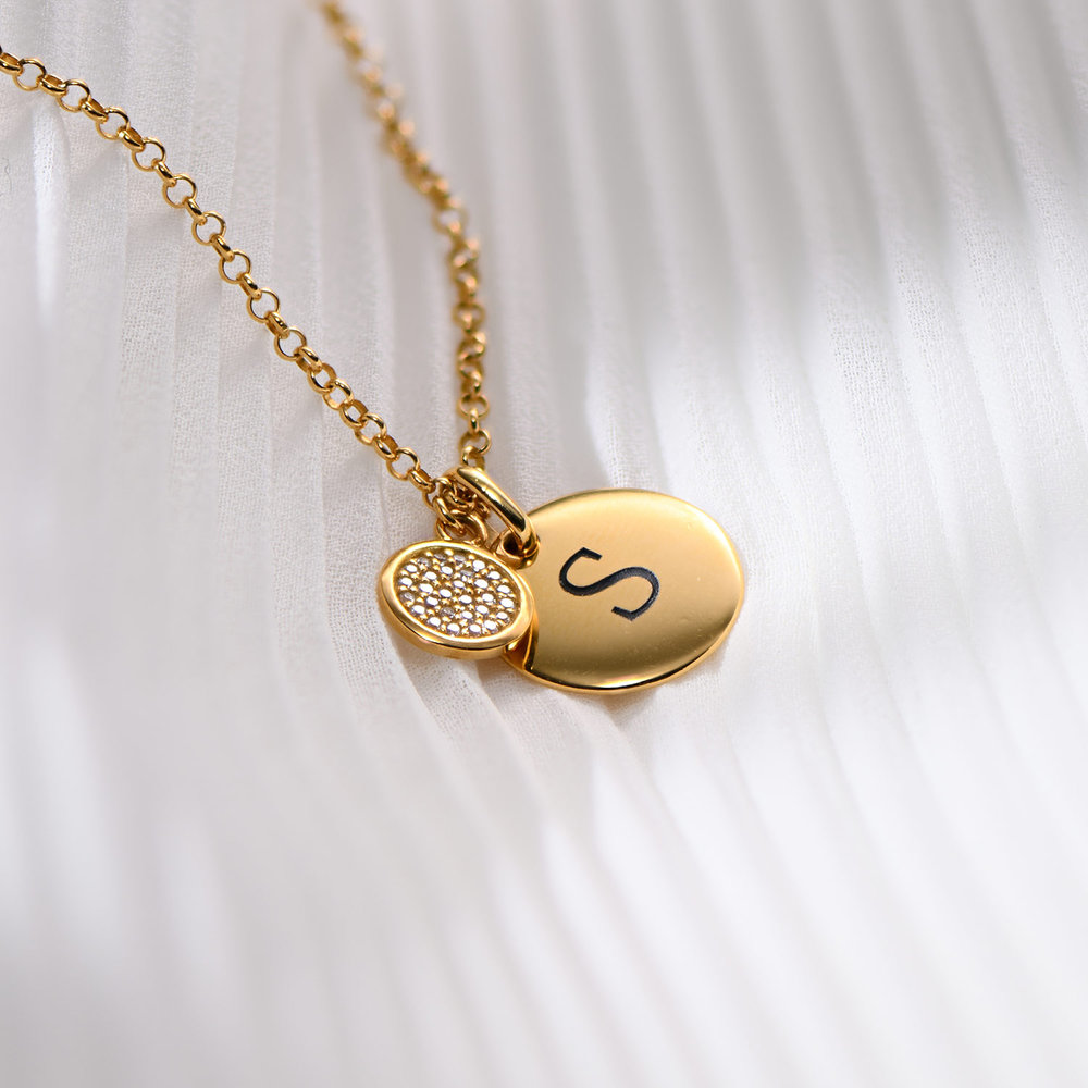 Luna Dazzle Disc Initial Necklace - Gold Plated - 1
