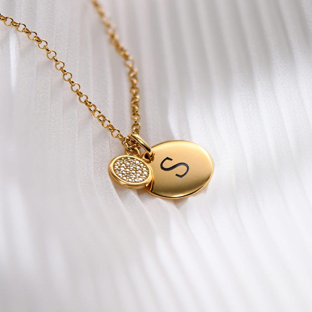 Luna Dazzle Disc Initial Necklace - Gold Vermeil - 1
