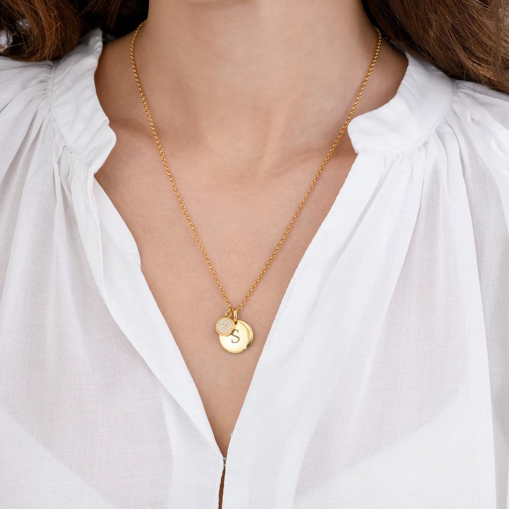 Luna Dazzle Disc Initial Necklace - Gold Vermeil - 3