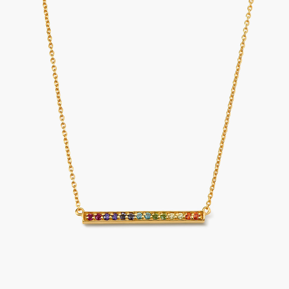 Rainbow Bar Necklace - Gold Plated