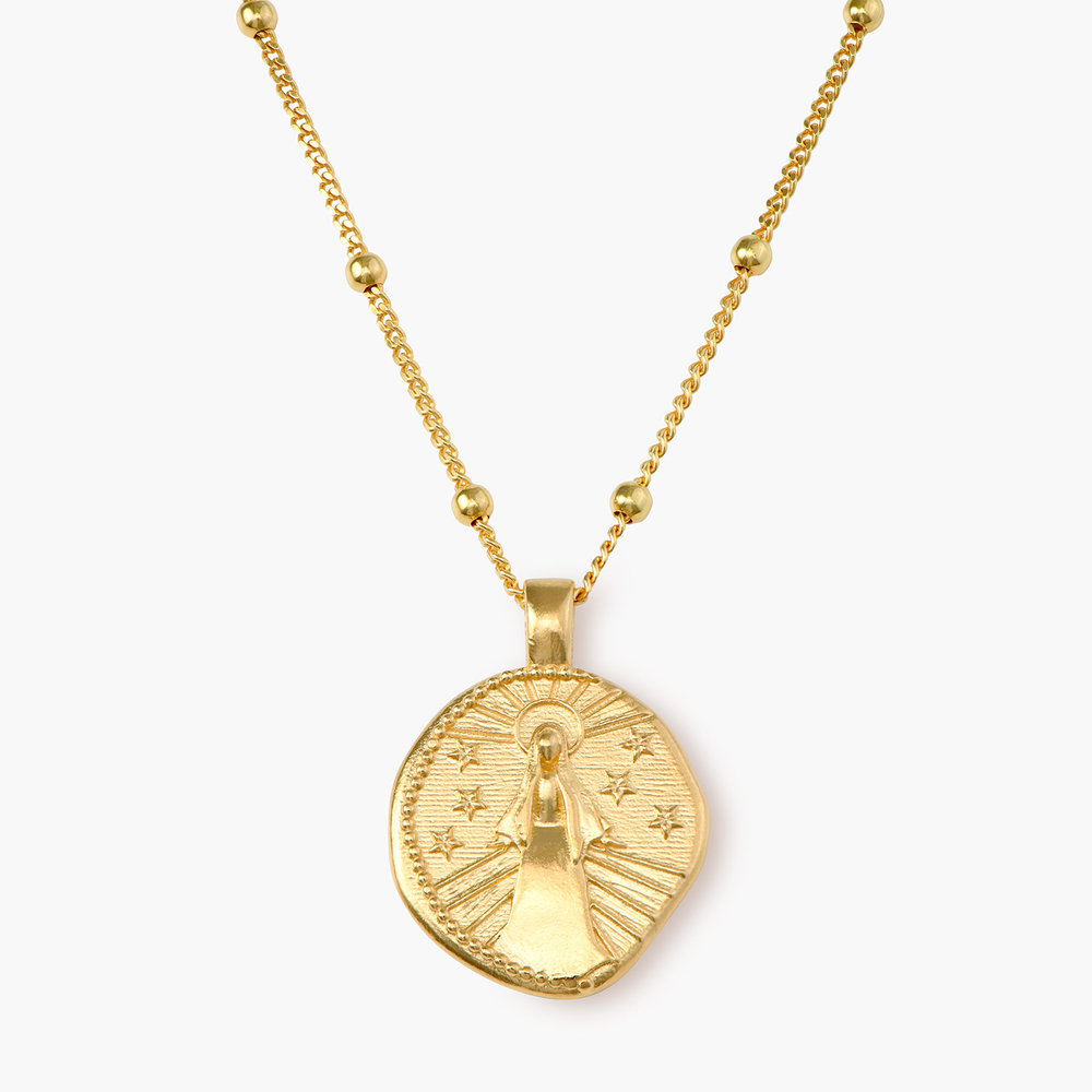 Virgin Mary Vintage Coin Necklace - Gold Plated
