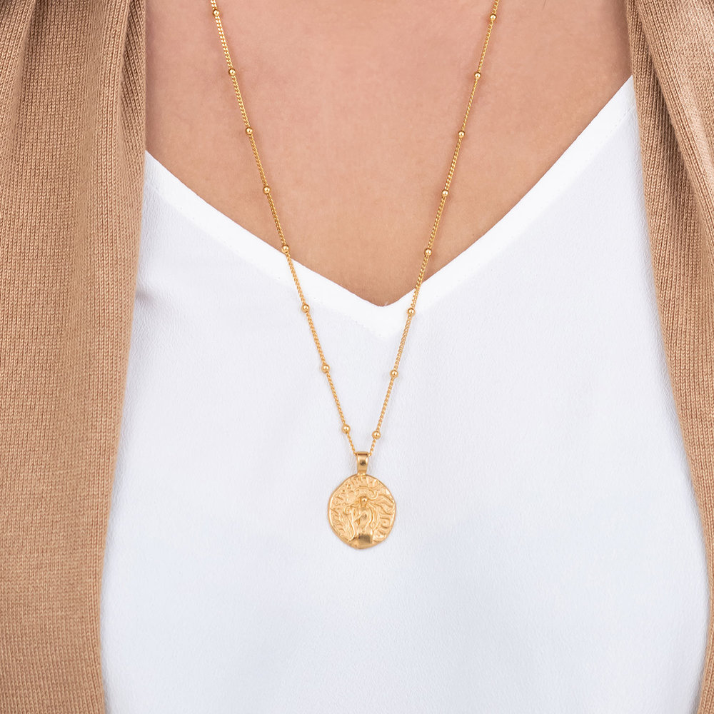 Goddess of Beauty Vintage Greek Coin Necklace - Gold Plated - 2