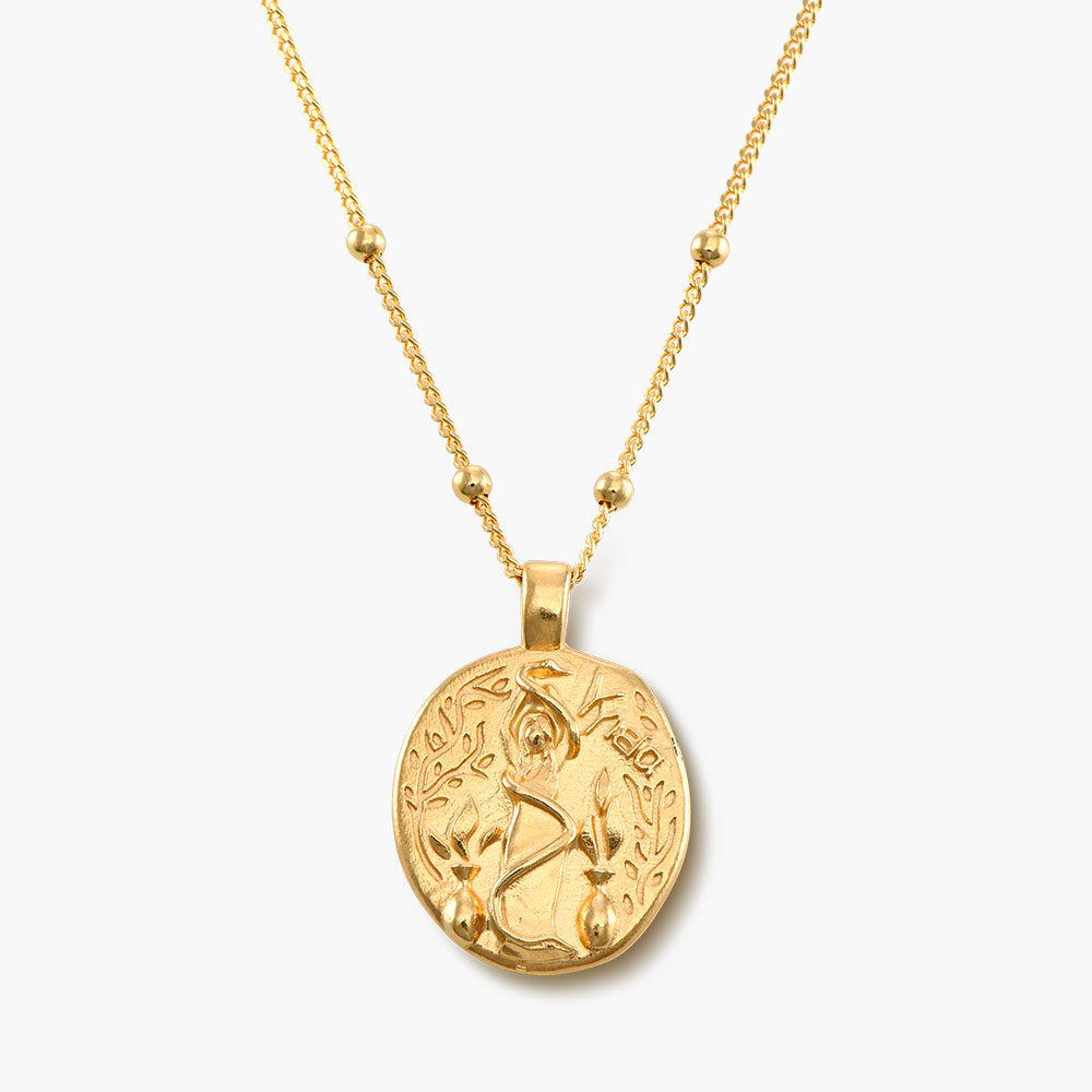 Goddess of Healing Greek Coin Necklace - Gold Plated