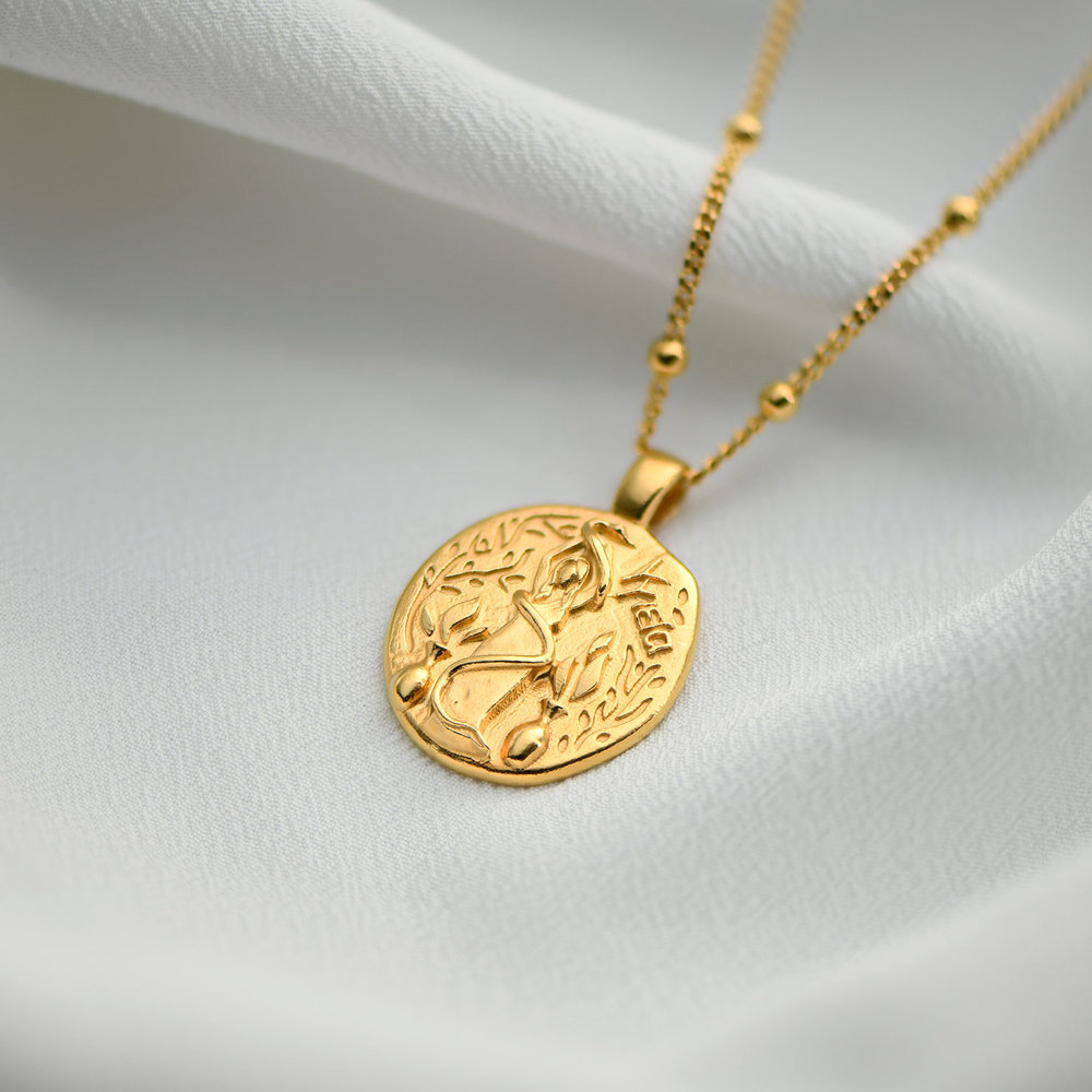 Goddess of Healing Greek Coin Necklace - Gold Plated - 1
