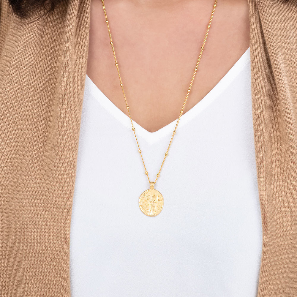 Goddess of Family Vintage Greek Coin Necklace - Gold Plated - 2