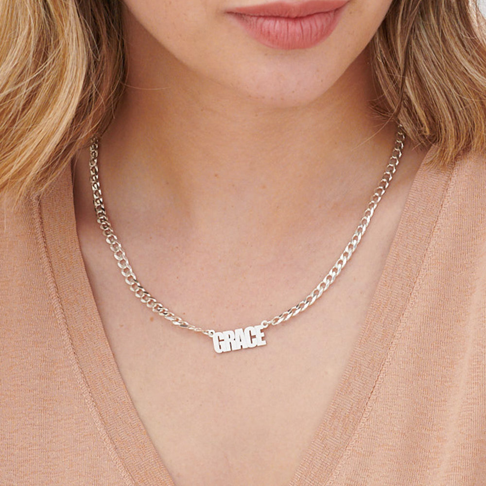 Icon State Name Necklace - Silver - 3