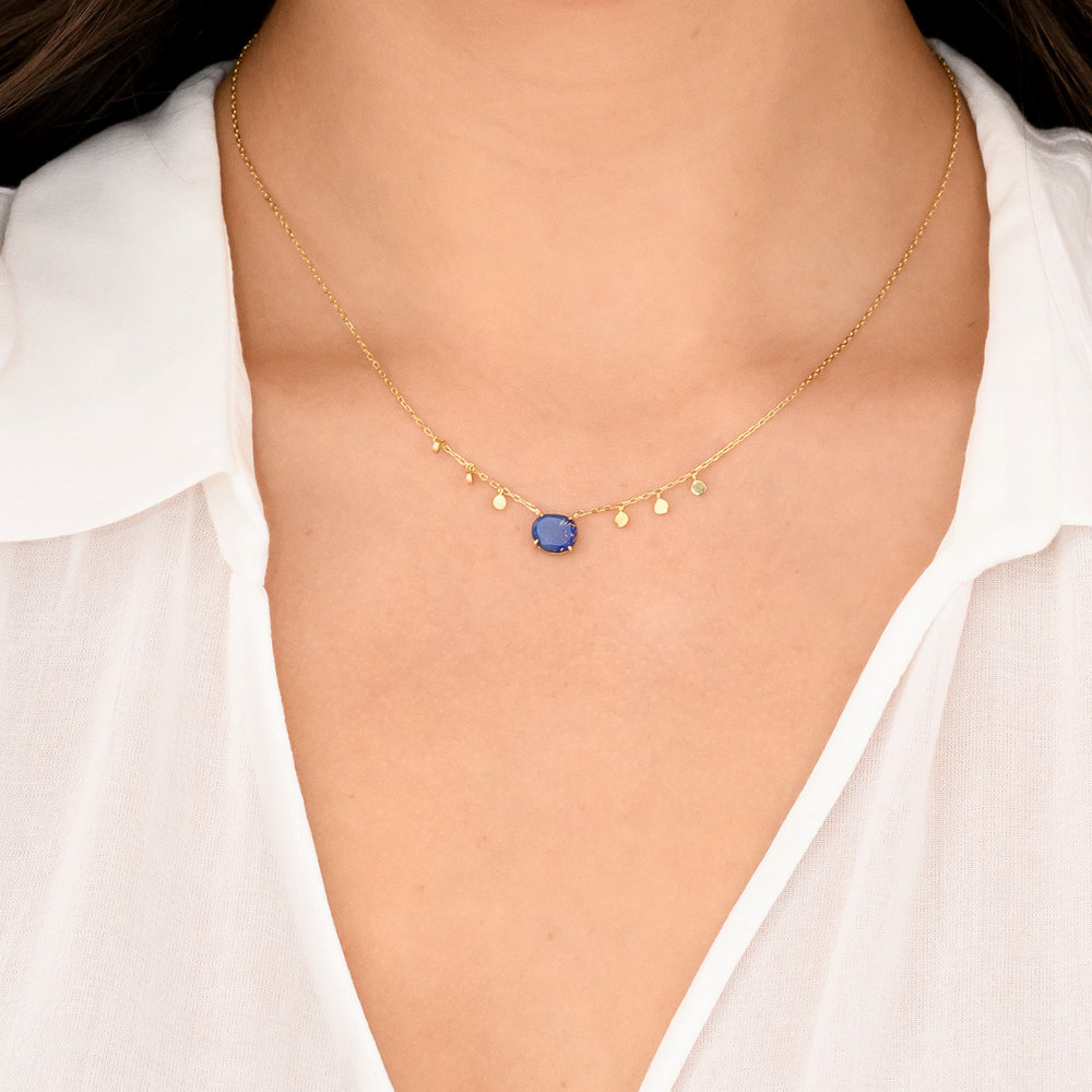 Blue Stone Necklace - Gold Plated - 2