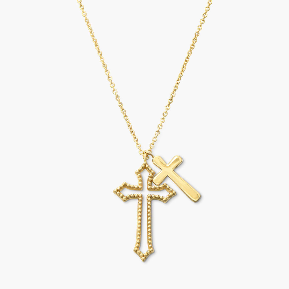 Double Cross Necklace - Gold Plated