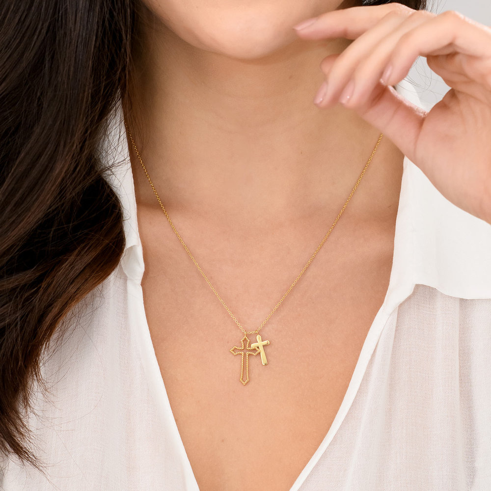 Double Cross Necklace - Gold Plated - 2