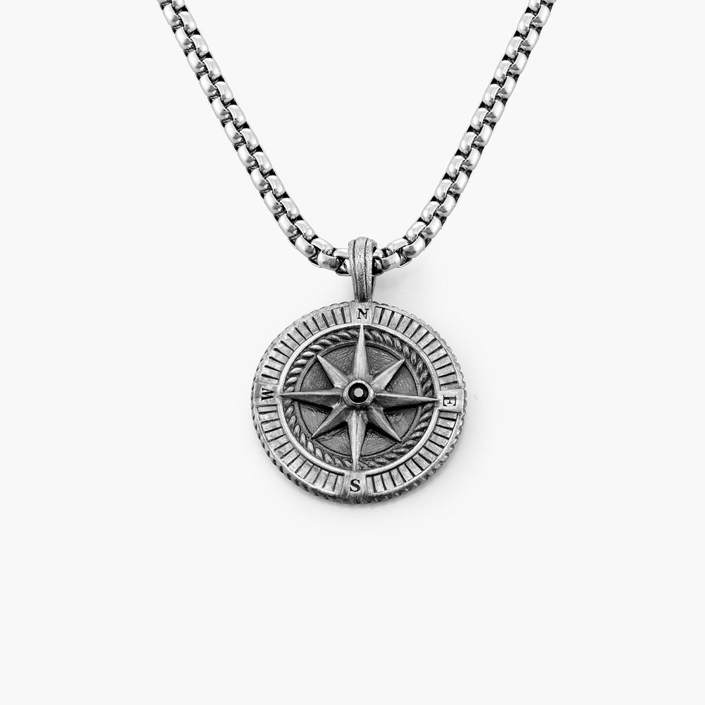 Find My Way-Compass Necklace - Silver