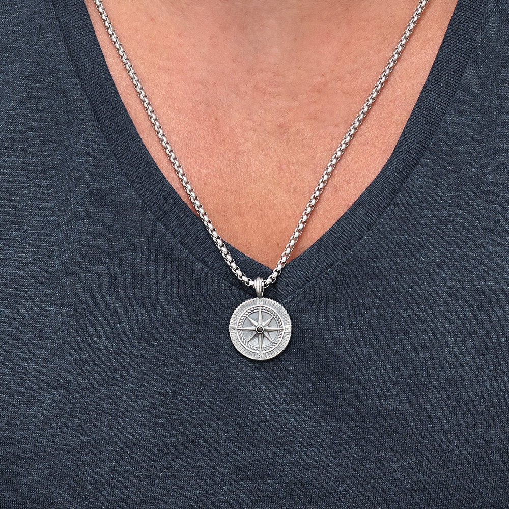Find My Way-Compass Necklace - Silver - 3