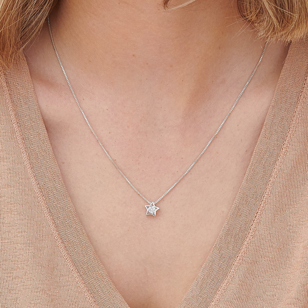Rising Star Necklace - Sterling Silver and Cubic Zirconia - 2