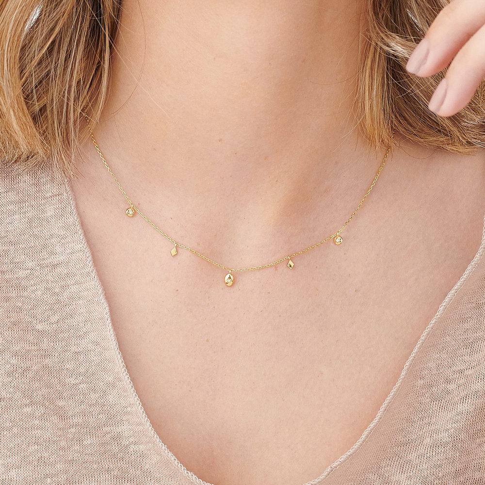 Ethereal Drops Necklace - Gold Plated - 3