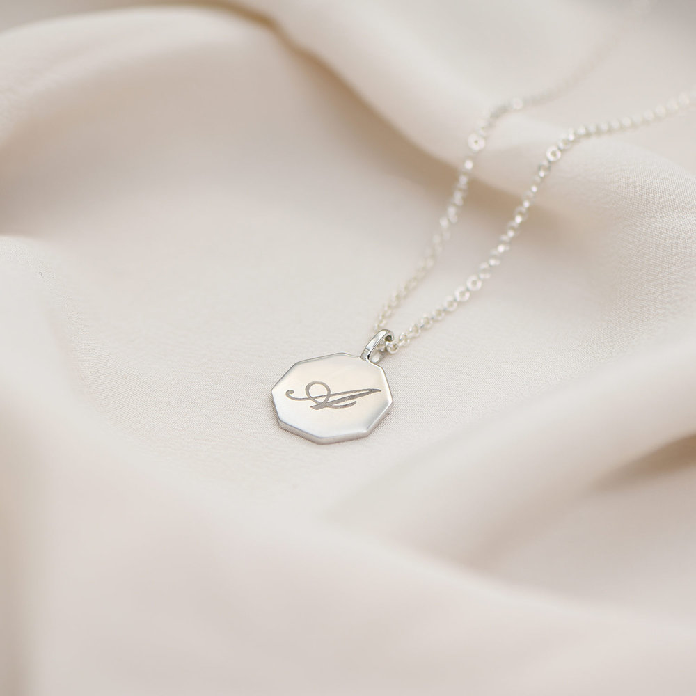 Octagon Initial Necklace - Sterling Silver - 2