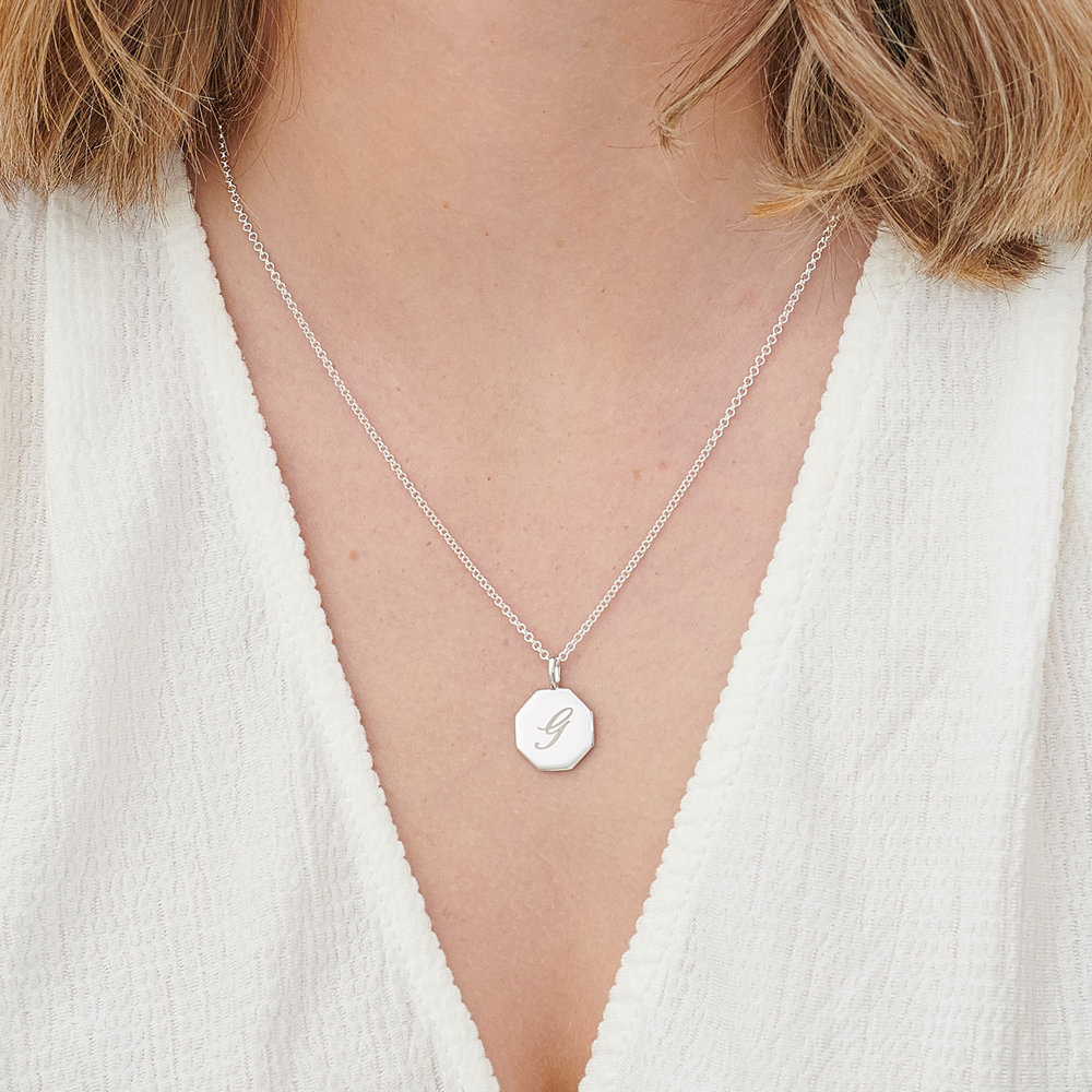 Octagon Initial Necklace - Sterling Silver - 4