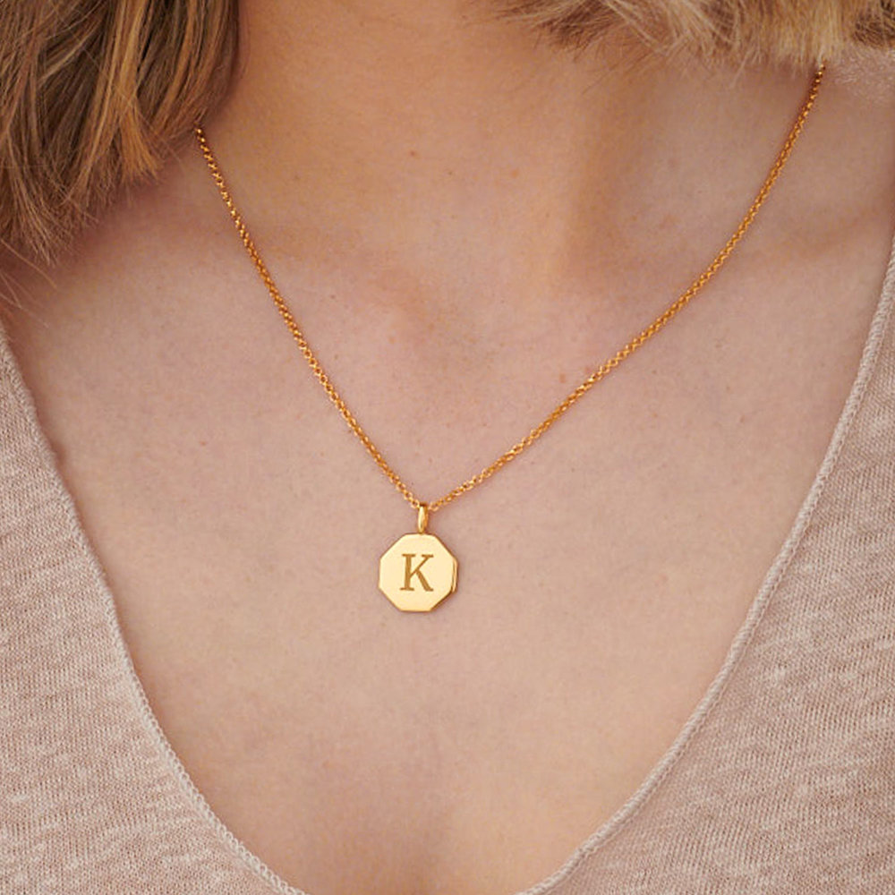 Octagon Initial Necklace - Gold Plated - 2