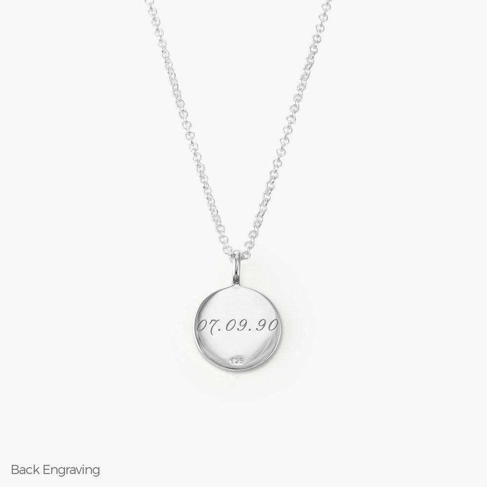 Cosette Engraved Disc Necklace - Sterling Silver - 1