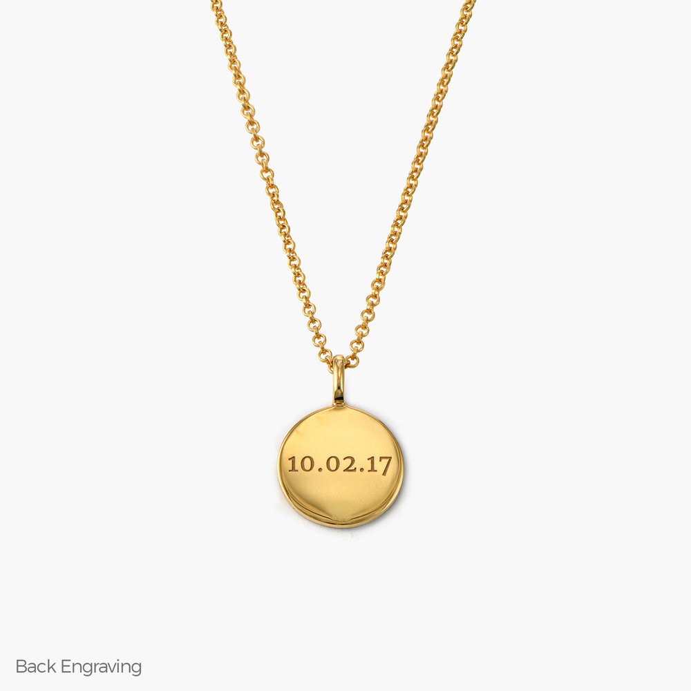 Cosette Engraved Disc Necklace - Gold Plated - 1