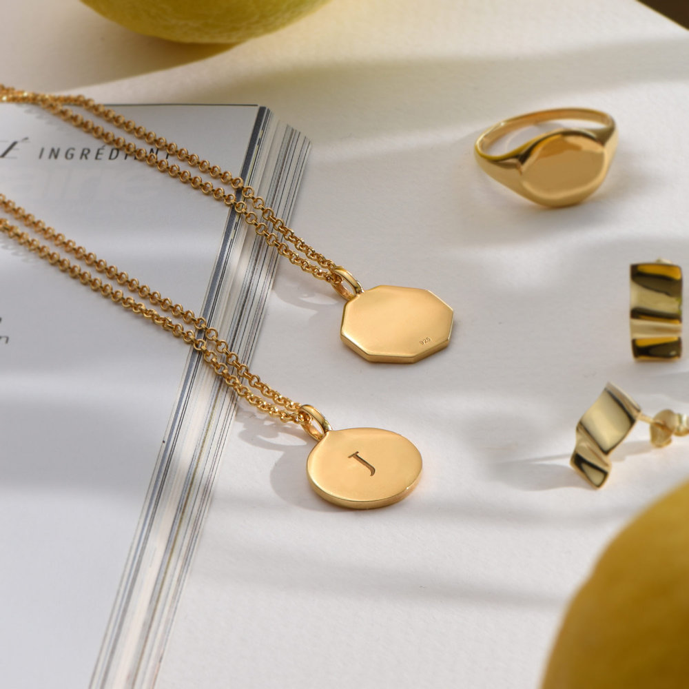 Cosette Engraved Disc Necklace - Gold Plated - 2