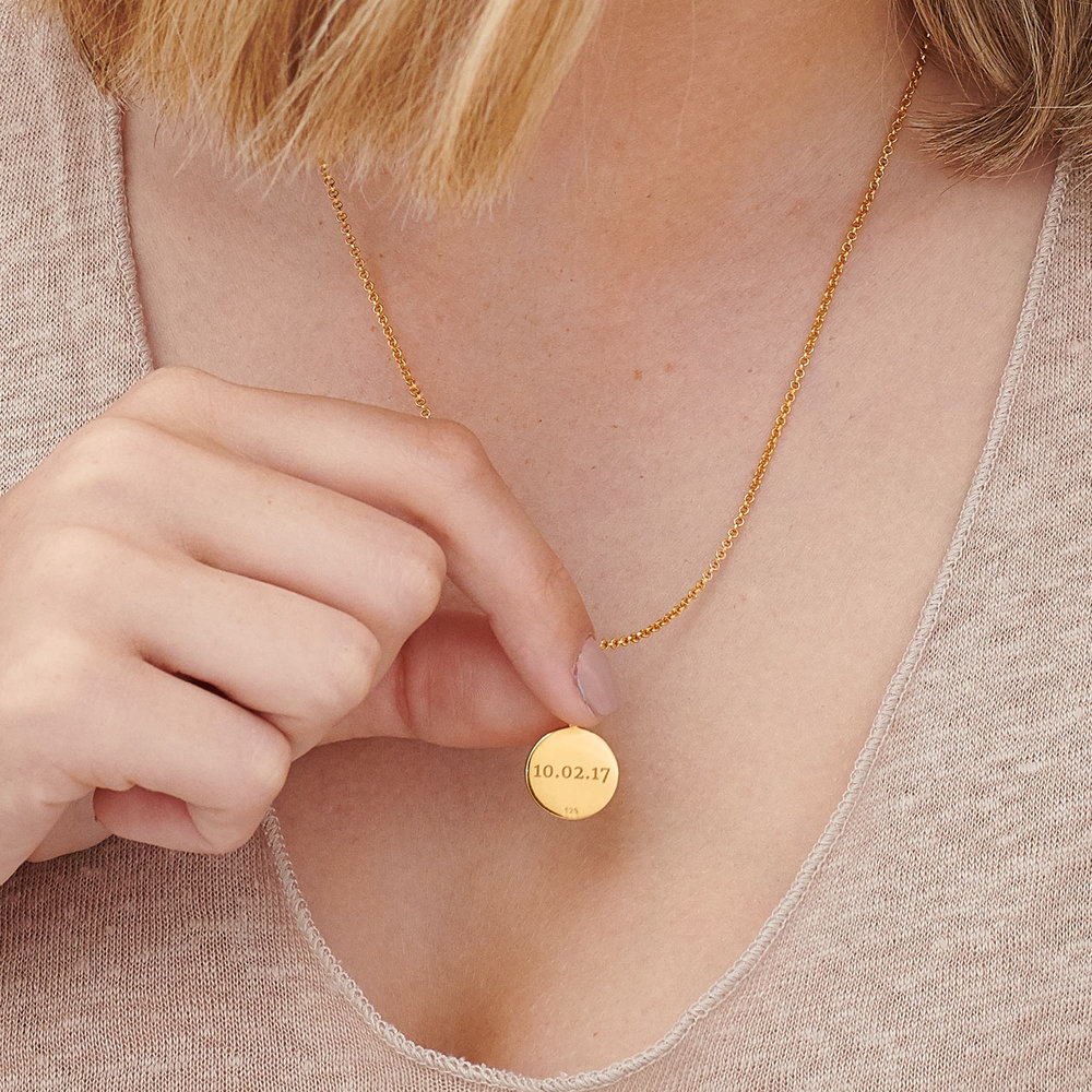Cosette Engraved Disc Necklace - Gold Plated - 4