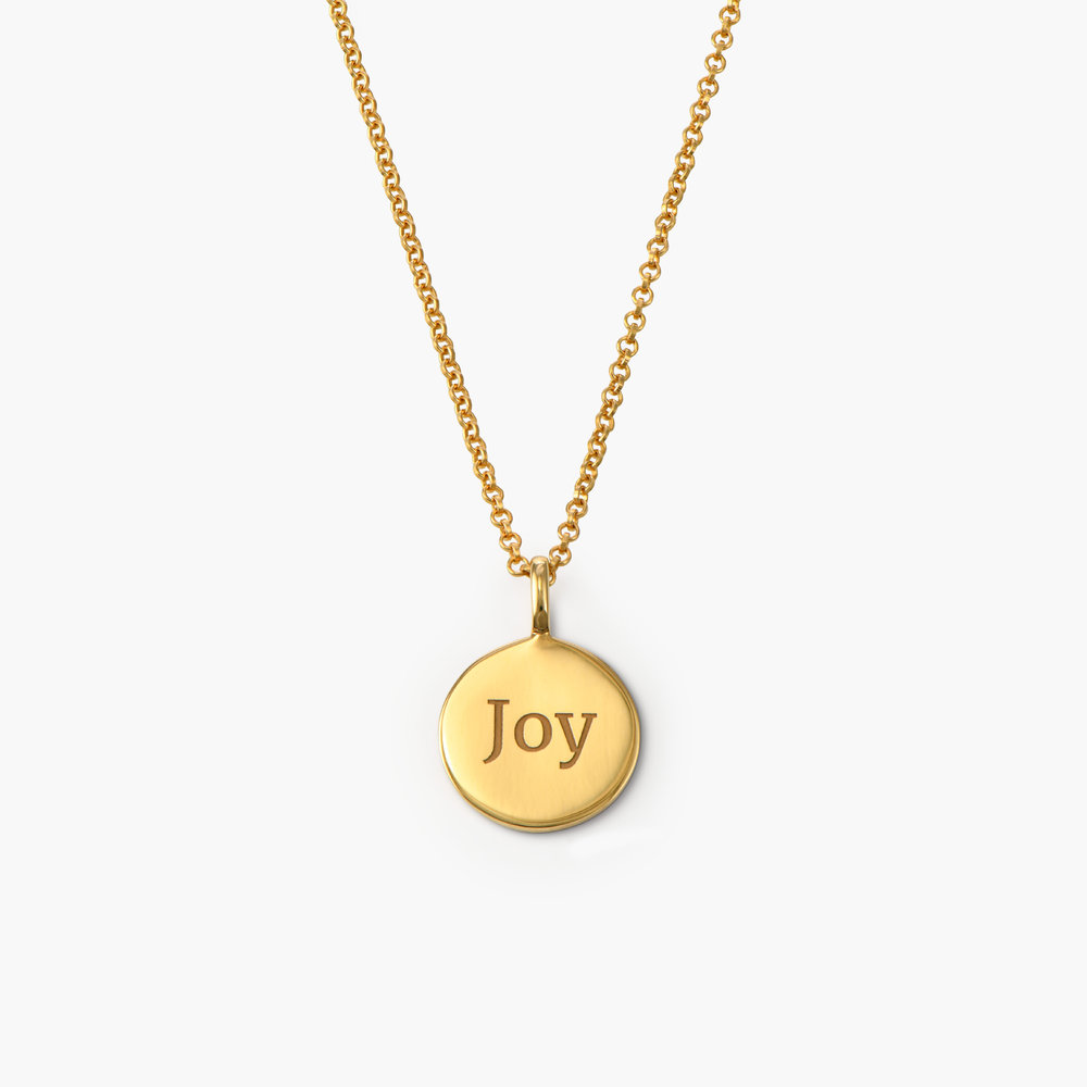 Cosette Engraved Disc Necklace - Gold Vermeil