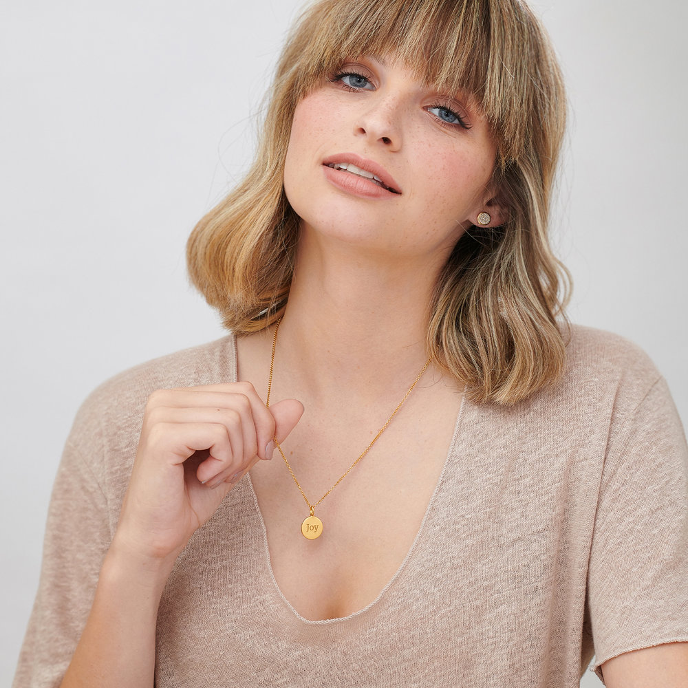 Cosette Engraved Disc Necklace - Gold Vermeil - 3
