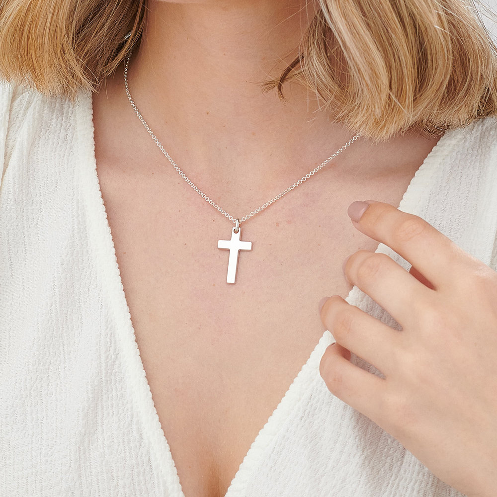 Pendant of Strength Cross Necklace - Sterling Silver - 3