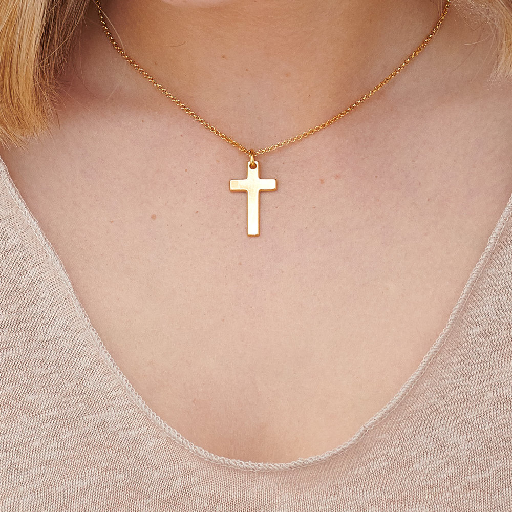 Pendant of Strength Cross Necklace - Gold Plated - 3