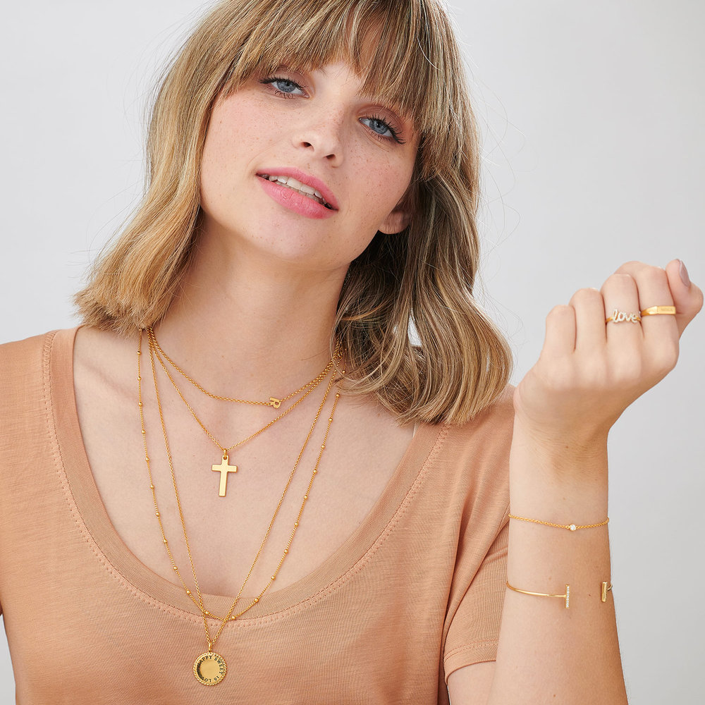 Pendant of Strength Cross Necklace - Gold Plated - 4