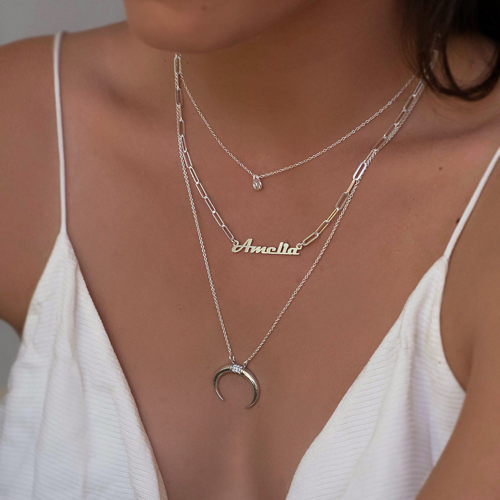 Crescent Moon Necklace - Sterling Silver - 3