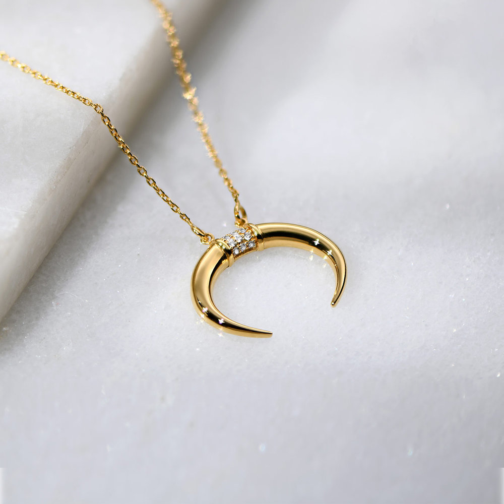 Crescent Moon Necklace - Gold Plated - 2
