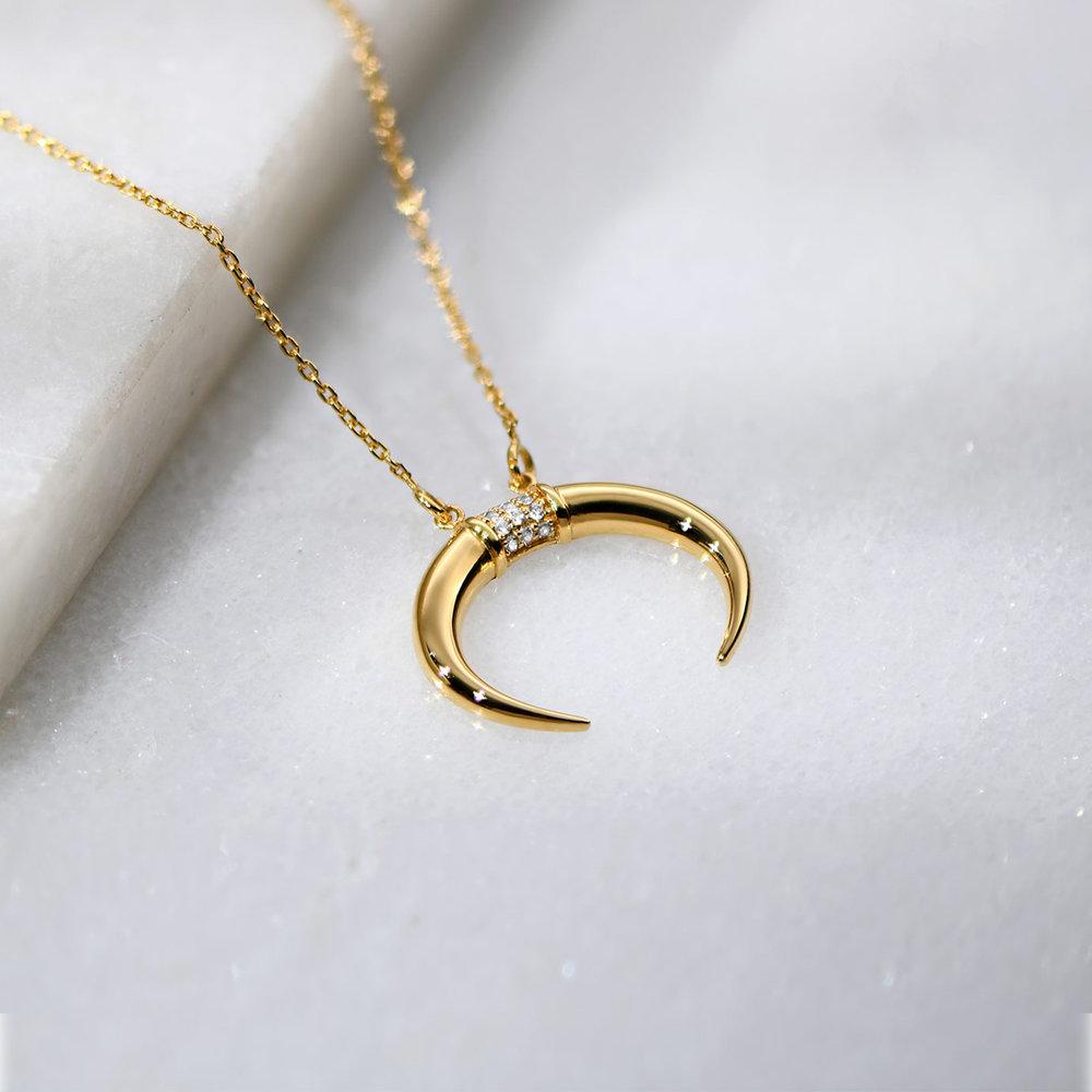 Crescent Moon Necklace - Gold Vermeil - 2