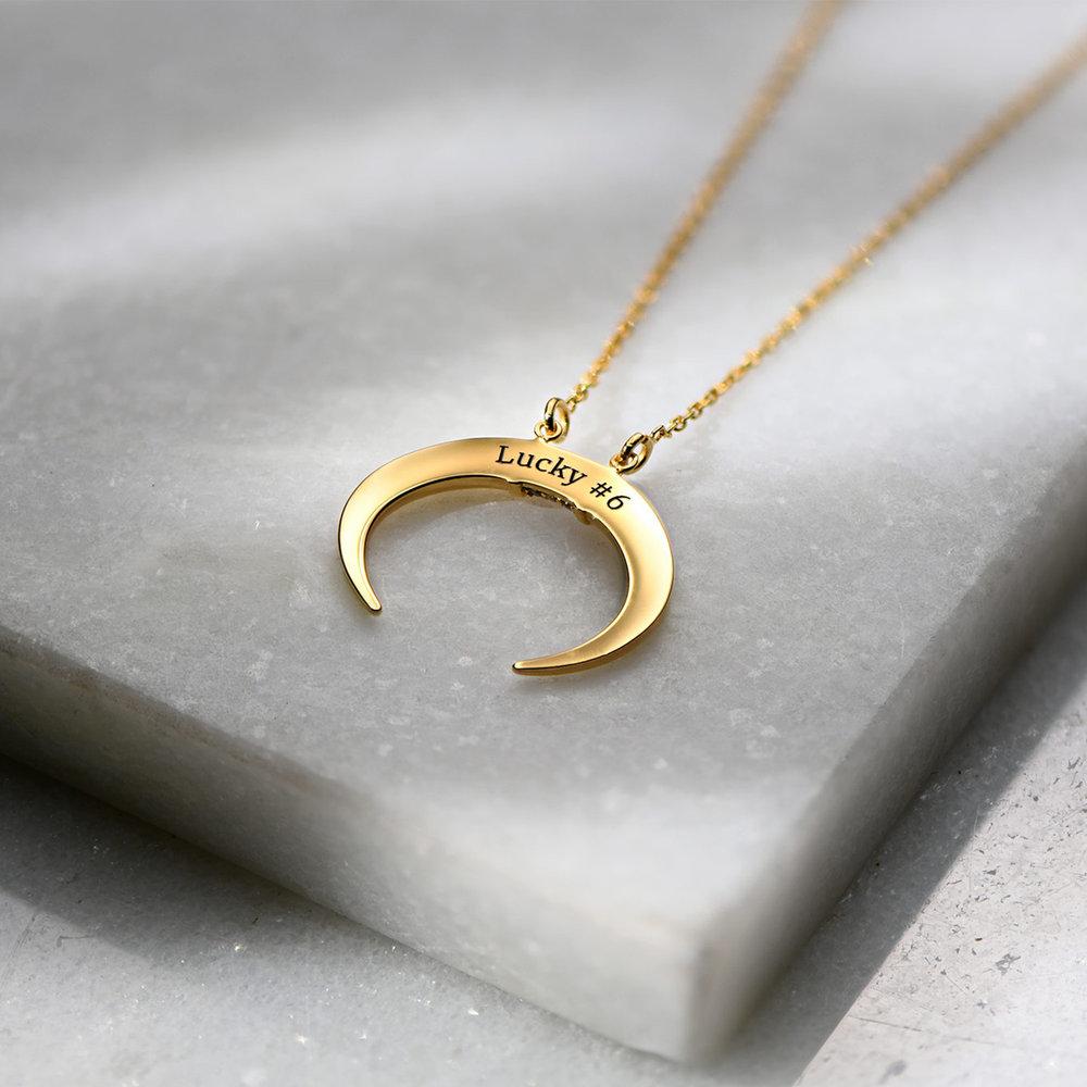 Crescent Moon Necklace - Gold Vermeil - 3