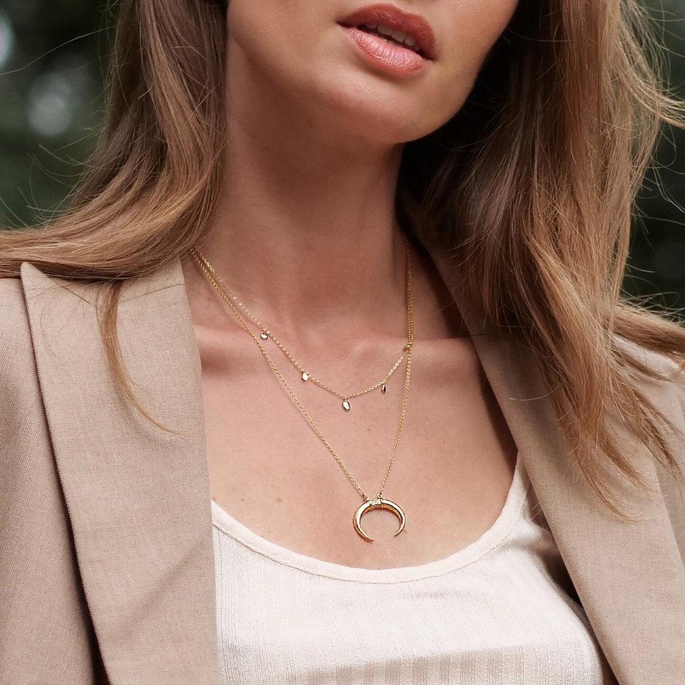 Crescent Moon Necklace - Gold Vermeil - 4