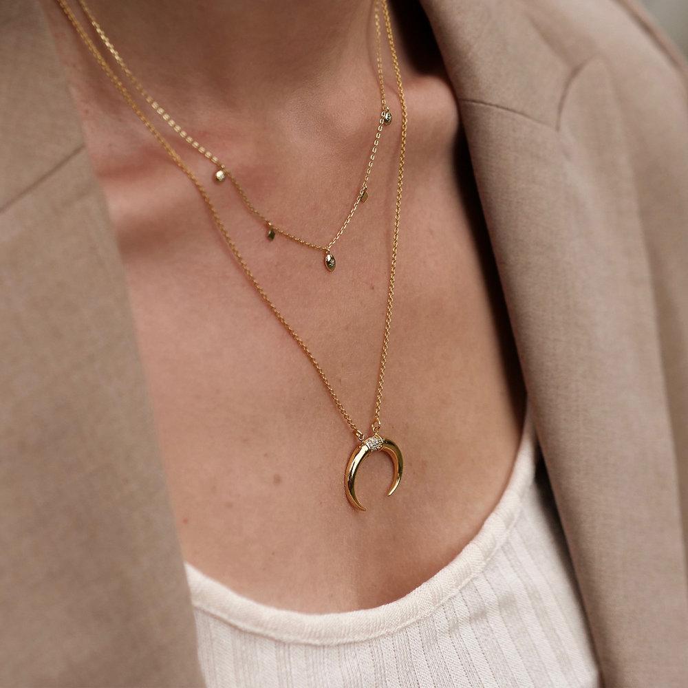 Crescent Moon Necklace - Gold Vermeil - 5