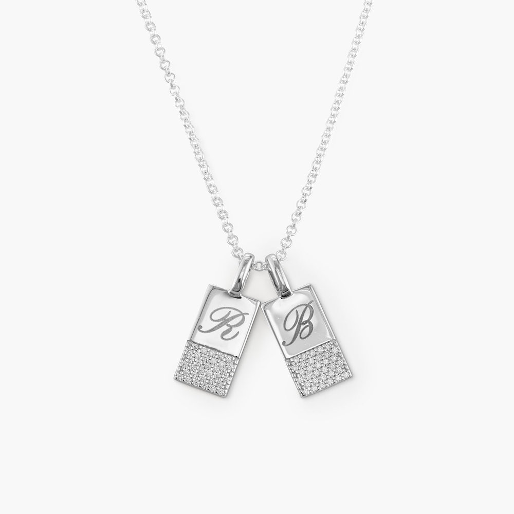 Luna Shimmer Initial Tag Necklace - Sterling Silver