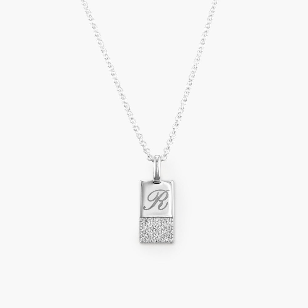 Luna Shimmer Initial Tag Necklace - Sterling Silver - 1