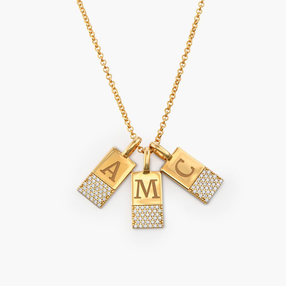 Luna Shimmer Initial Tag Necklace - Gold Plated