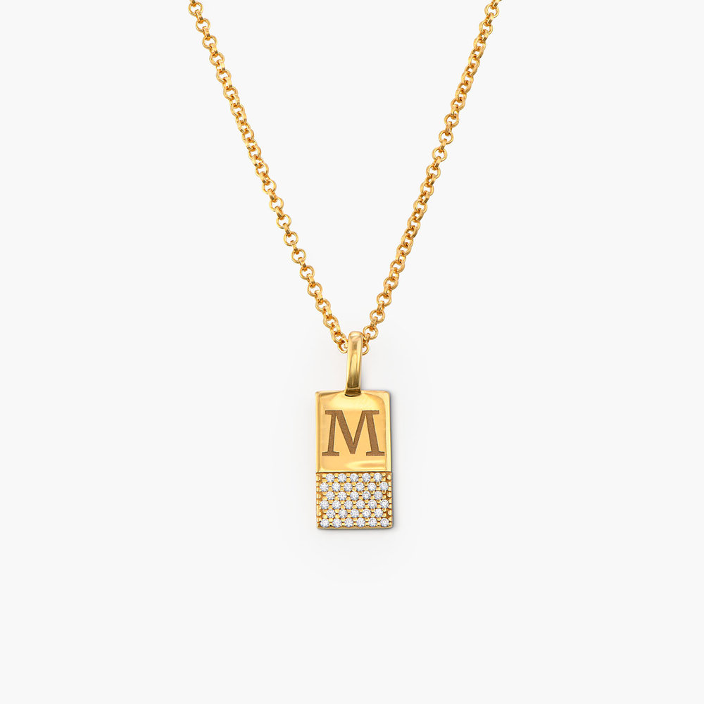 Luna Shimmer Initial Tag Necklace - Gold Plated - 1