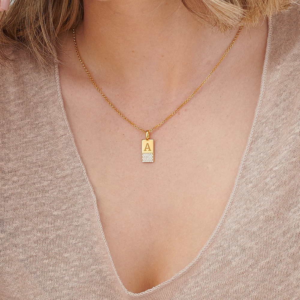 Luna Shimmer Initial Tag Necklace - Gold Plated - 3