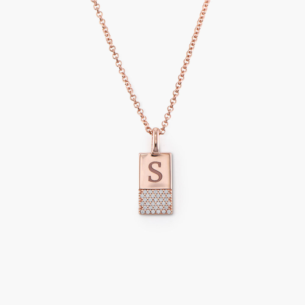 Luna Shimmer Initial Tag Necklace - Rose Gold Plated