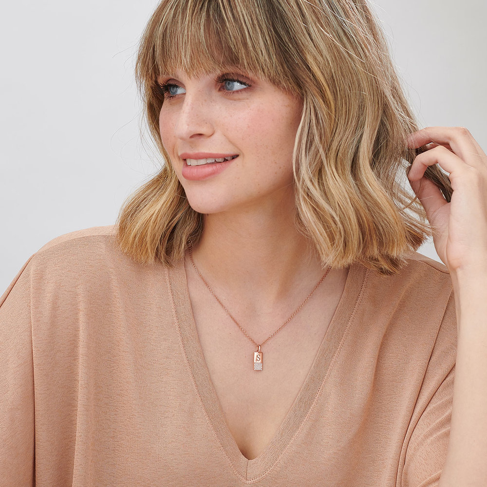 Luna Shimmer Initial Tag Necklace - Rose Gold Plated - 1